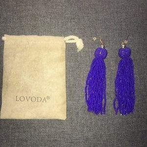 Lovoda Fringe Earrings (Royal Blue)
